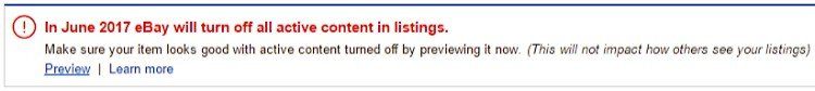 eBay Active Content Warning
