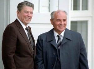Image: TRV   President Reagan and Secretary General Mikhail Gorbachev in Reykjavik, Iceland at the Hofdi House