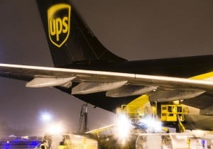 ups plane tail section being loaded global shipment