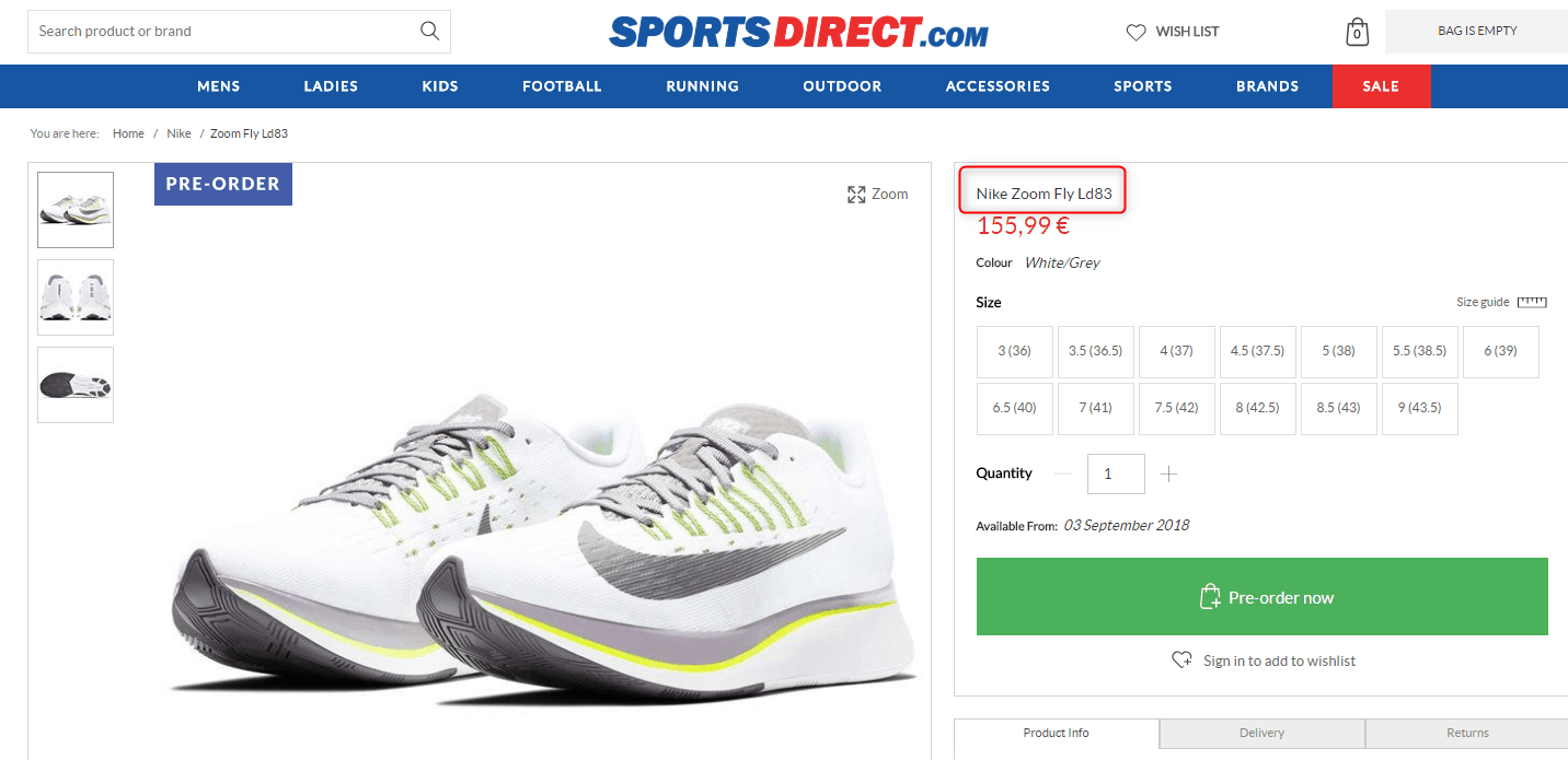 sports direct product listing