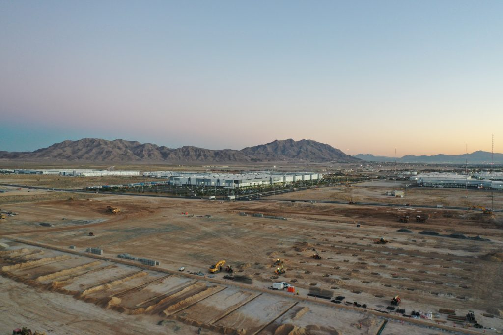 Construction site of Amazon's new fulfillment center in North Las Vegas, Nevada. The building will open in 2021 with 1,500 full-time employees.