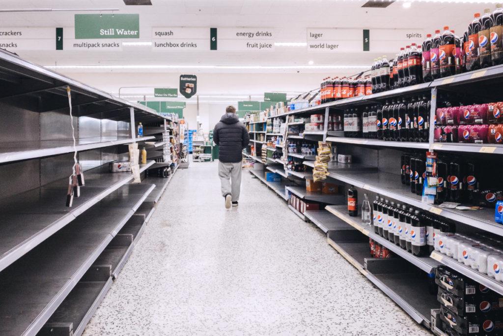 empty shelves uk london supermarket